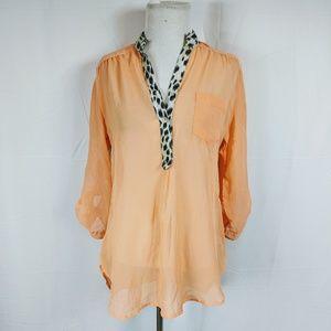 Rue21 Orange Chiffon Tunic Blouse